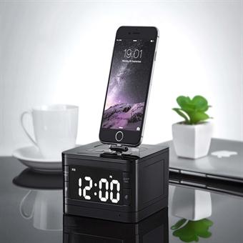Kelloradio iPhone 6 / 7 - Bluetooth kaiutin telakointiasemalla, Med alarm- & Ladd-funktion