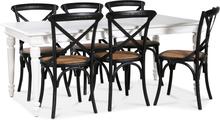 Paris matgrupp 180 cm bord vit + 6 st svarta Gaston matstolar