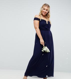 ASOS DESIGN Curve Bridesmaid ruched mesh bardot maxi dress - Navy