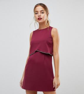 ASOS PETITE Scuba Crop Top with Embellished Trim Mini Dress-Red