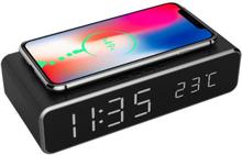 Digital Väckarklocka med Qi-laddning Svart