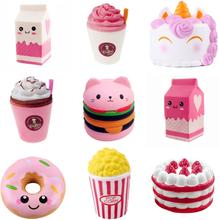 Antistress Squishy Hamburger Milkshake Squishe Donut Popcorn Toys Stress Relief Anti-Stress Practical Jokes Surprise Squshy Gift