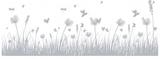 Fönsterfilm - gräs med fjärilar 100cm x 33cm