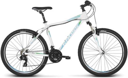 """Kross Lea 1.0 26"""" Dam mountainbike Vit/turkos, Stötdämpare, 13,7 kg"""
