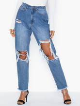 Missguided High Rise Open Knee Mom Jean