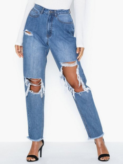 Missguided High Rise Open Knee Mom Jean Jeans