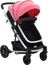 vidaXL 2-i-1 Sitt-/liggvagn rosa och svart aluminium