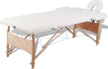 vidaXL Hopfällbar massagebänk med 2 sektioner träram gräddvit