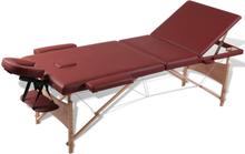 vidaXL Rött vikbart massagebord med 3 zoner och träram
