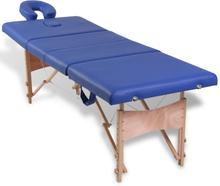 vidaXL Blå hopfällbar 4-sektions massagebänk med träram