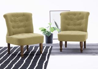vidaXL Franske stoler 2 stk grønn stoff