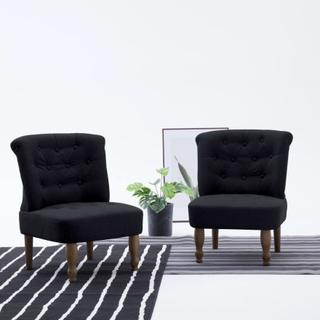 vidaXL Franske stoler 2 stk svart stoff