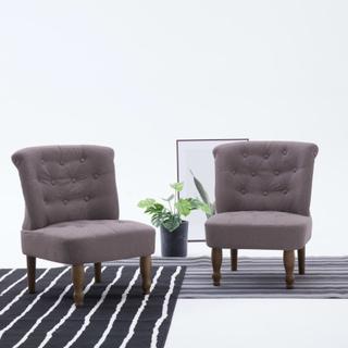 vidaXL Franske stoler 2 stk gråbrun stoff