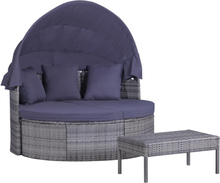 vidaXL Loungegrupp med dynor och kuddar 3 delar konstrotting grå