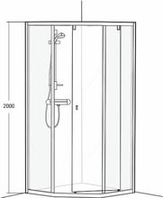 Duschvägg IDO Showerama 8-3 700 x 900 mm , Frostat glas, Borstad aluminium