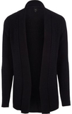 River Island Mens Navy cable knit open front cardi