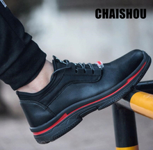 CS549 Men Steel Toe Outdoor Safety Work Shoes Lightweight Breathable anti-smashing anti-piercing Non-Slip Protective Footwear
