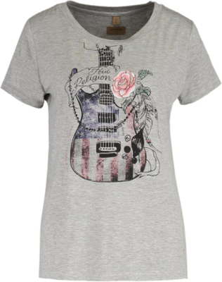 True Religion GUITAR Tshirt med tryck grey melange