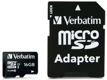 VERBATIM Verbatim 16GB MicroSDHC Minnekort med adapter, Class 10