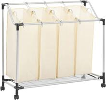 vidaXL Tvättsorterare med 4 påsar gräddvit stål