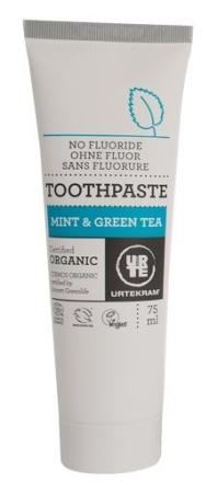 Tandpasta mint og grøn te u. fluor, 75ml.