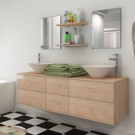 vidaXL badeværelsesmøbelsæt 7 dele beige