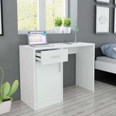 vidaXL Skrivebord med Skuff og Skap Hvit 100x40x73 cm