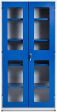 Högt verktygsskåp med plexiglasdörrar och L-handtag 1020x540x2000 mm