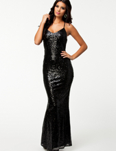 Black Sequin Low Back Gown