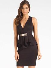 R70066-1 Bar Trim Peplum Dress