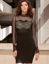 Black Transparent Gauze Neck Lace Sleeve Clubwear