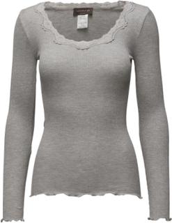 Silk T-Shirt Regular Ls W/Rev Vinta T-shirts & Tops Long-sleeved Grå Rosemunde