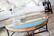 Runt soffbord av återvunnet trä (90 cm)