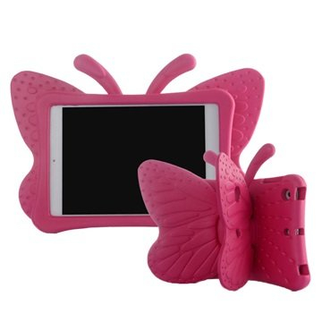 iPad Mini 2, iPad Mini 3 3D Shockproof Kids Cover - Sommerfugl - Hot Pink