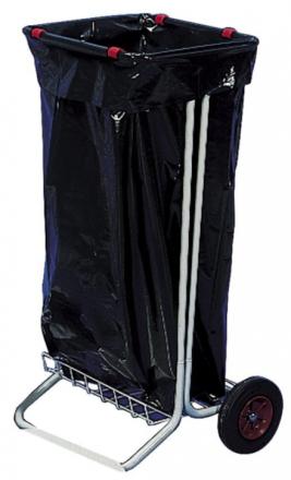 Affaldsstativ galvaniseret stål på 2 hjul ekskl. låg
