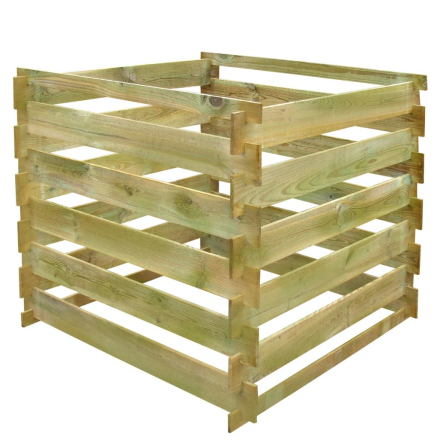 vidaXL kompostkasse med tremmer FSC-træ firkantet 0,54 m3