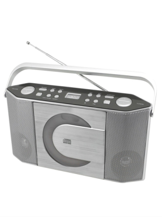 UKB/CD reiseradio Soundmaster sølvfarget metallic