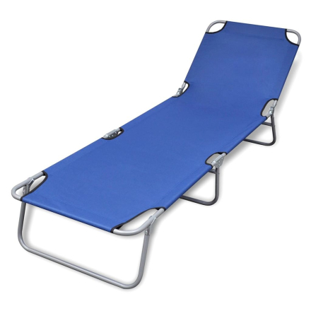 vidaXL Sammenleggbar blå solseng med justerbar ryggstøtte