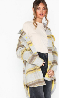 Missguided Oversized Check Shacket Faux Fur