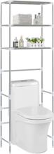 vidaXL 3-kerroksinen säilytyshylly WC-pytyn ylle hopea 53x28x169 cm