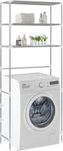 vidaXL Hylla för tvättmaskin med 3 hyllplan silver 69x28x169 cm