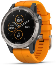 Garmin Fenix 5 Plus Sapphire Titanium with Solar Flare Orange Band Multisport GPS Watch Only (010-01988-73) (US and Canada Map only) (Support EU languages)