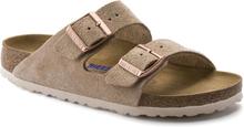 Birkenstock Arizona Suede Leather Soft Footbed Slim Dam Sandaler Beige EU 41