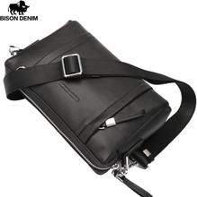 BISON DENIM 100% Genuine Leather Guarantee Crossbody Bag Black Messenger Bag Men's Clutch bag Zipper Wallet N8016