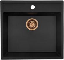 Lavabo Jupiter 60 diskbänk 53,2x50,2 cm m/Kopparfärgad korgventil - Granitek