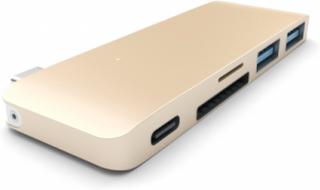 Hubb, 2 x SuperSpeed USB 3.0 + 1 x SuperSpeed USB 3.0 (laddning), skrivbordsmodell USB Hub - USB 3.1 - 3 porte - Gold