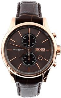 Hugo Boss Jet Leather Watch Dark Brown 1513281