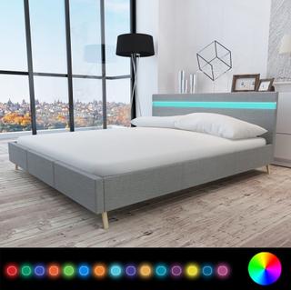vidaXL Säng med LED i huvudgaveln 200 x 160 cm ljusgrå tygklädsel