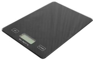 Køkkenvægt sort glasplade - Elektronisk. Vejekapacitet 5 kg.