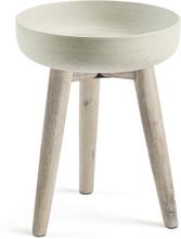 LAFORMA Stahl urtepotteskjuler - grå/natur cement/akacietræ, rund (Ø36)